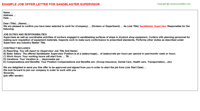 sandblaster supervisor offer letter template