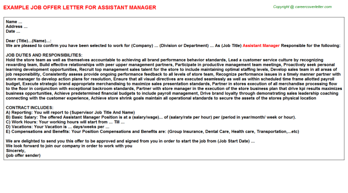 assistant manager offer letters