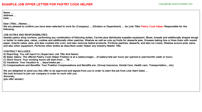 Pastry Cook Helper Offer Letter Template
