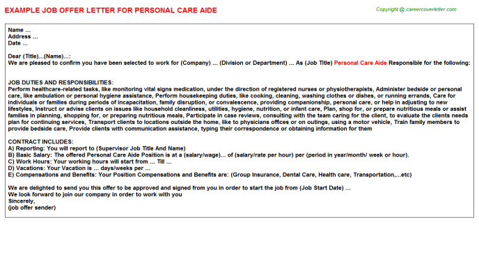 Personal Care Aide Job Offer Letter Template