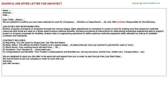 Architect Offer Letter Template