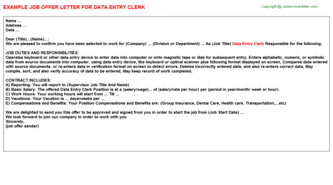 Data Entry Clerk Offer Letter Template