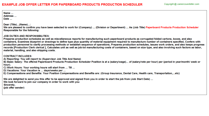 paperboard products production scheduler offer letter template