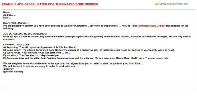 turbinated bone grinder offer letter template