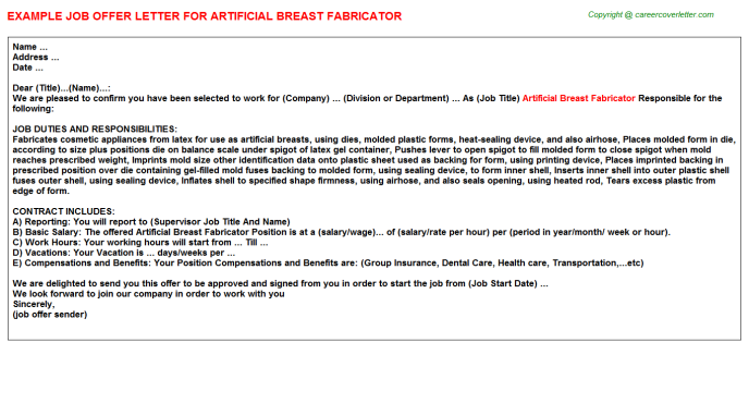 Artificial Breast Fabricator Offer Letter Template