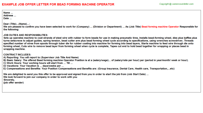 Bead Forming Machine Operator Offer Letter Template