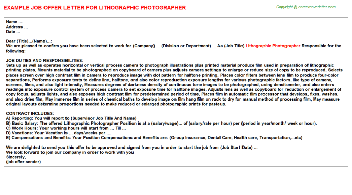 Lithographic Photographer Job Offer Letter Template