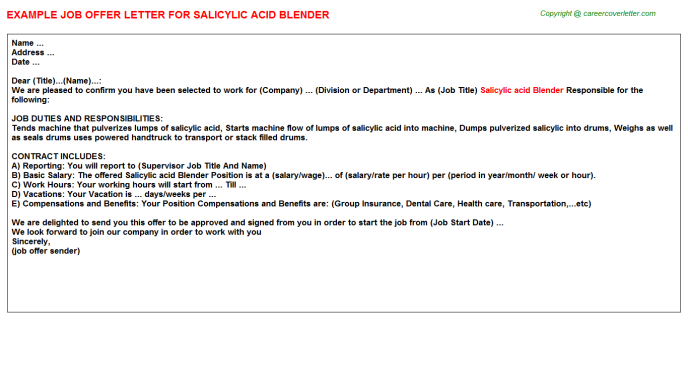 salicylic acid blender offer letter template