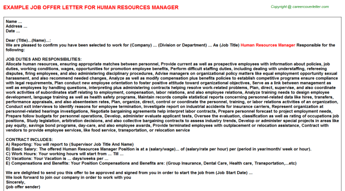 Human Resources Manager Offer Letter Template