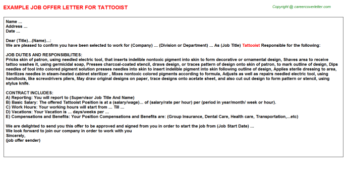 Tattooist Offer Letter Template