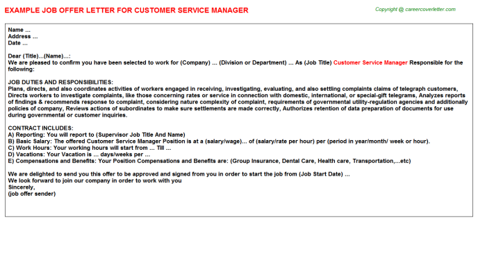 Customer Service Manager Offer Letter Template