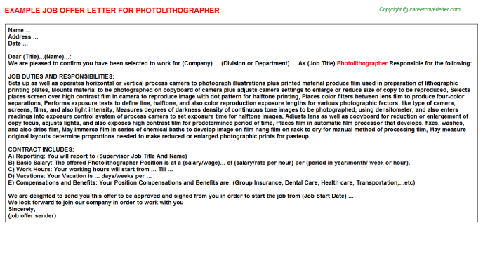 Photolithographer Offer Letter Template
