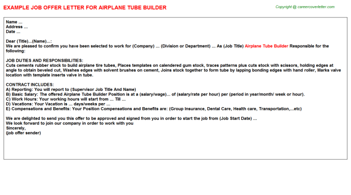 Airplane Tube Builder Offer Letter Template