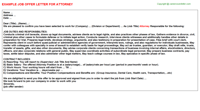 Attorney Offer Letter Template