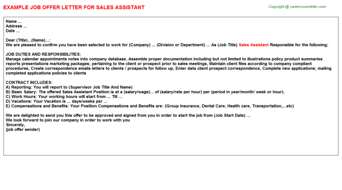 Sales Assistant Offer Letter Template