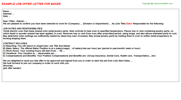 Baker Job Offer Letter Template