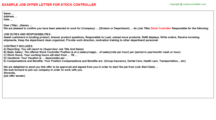 Stock Controller Offer Letter Template