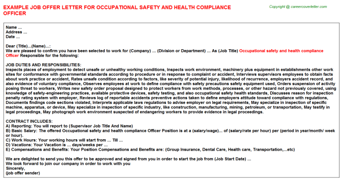 Occupational Safety And Health Compliance Officer - Career Templates