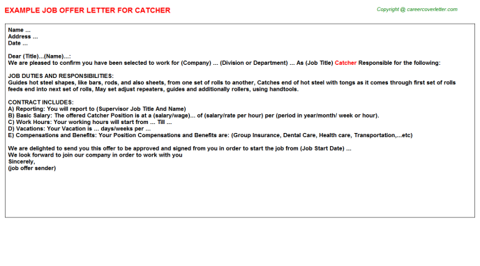 Catcher Offer Letter Template
