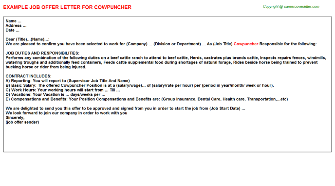 Cowpuncher Job Offer Letter Template