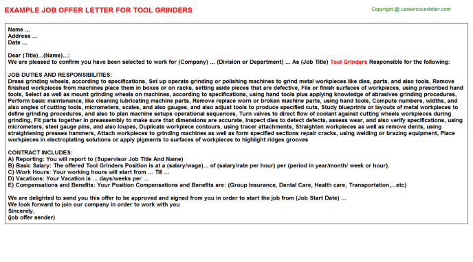 Tool Grinders Job Offer Letter Template