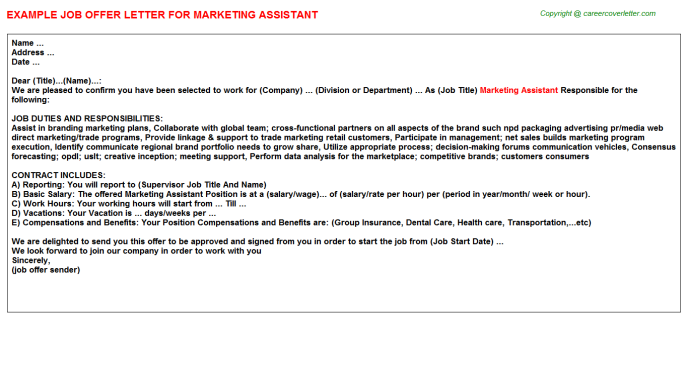 Marketing Assistant Offer Letter Template