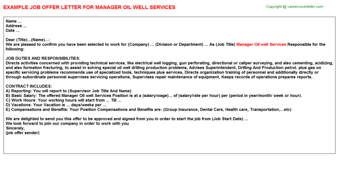 Manager Oil Well Services Job Offer Letter Template