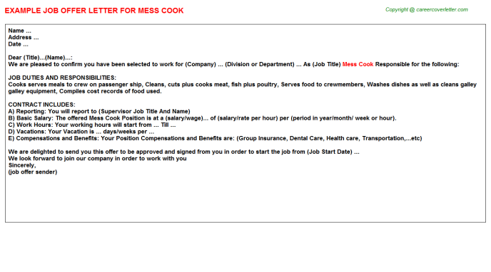 Mess Cook Offer Letter Template
