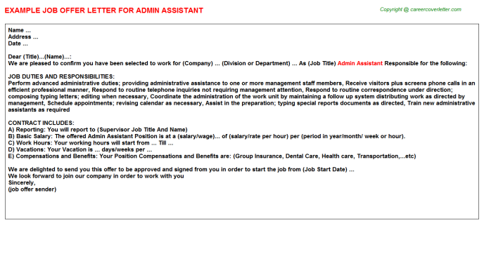 Admin Assistant Job Offer Letter Template