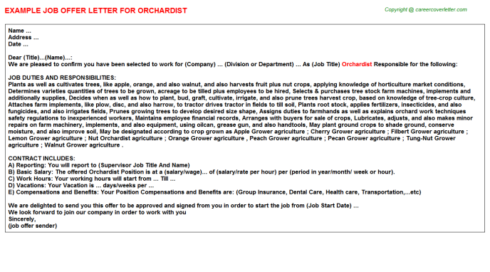 Orchardist Job Offer Letter Template