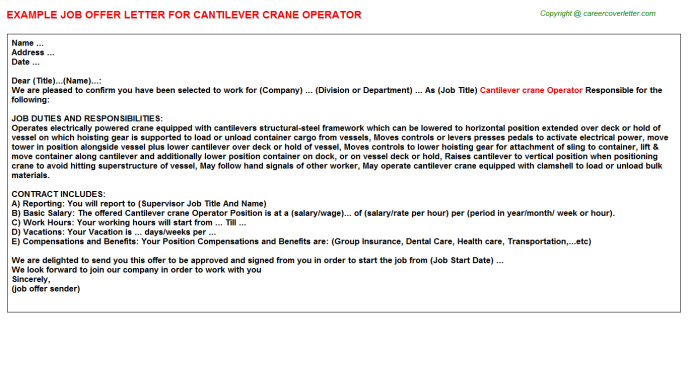 Cantilever Crane Operator Offer Letter Template