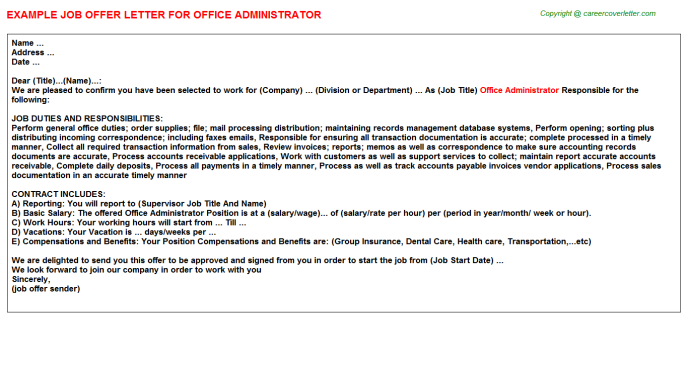 Office Administrator Offer Letter Template