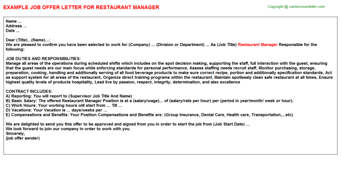 Restaurant Manager Job Offer Letter