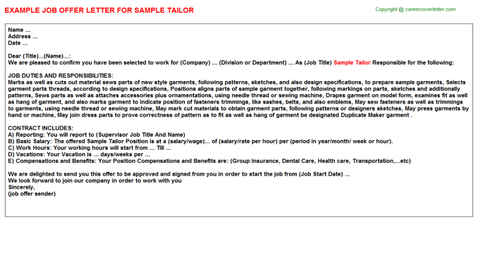 Sample Tailor Job Offer Letter
