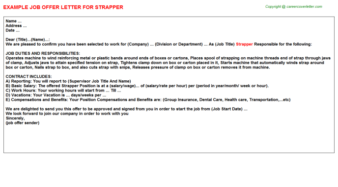Strapper Job Offer Letter Template