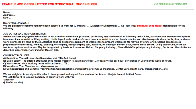 Structural shop Helper Offer Letter Template