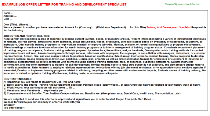 Training and development specialist job offer letter (#25268)