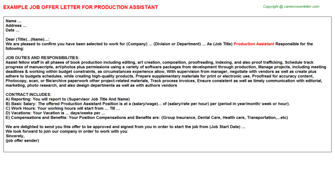 Production Assistant Offer Letter Template
