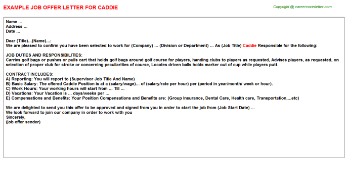 Caddie Offer Letter Template