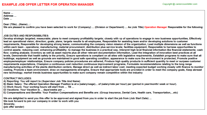 Operation Manager Offer Letter Template