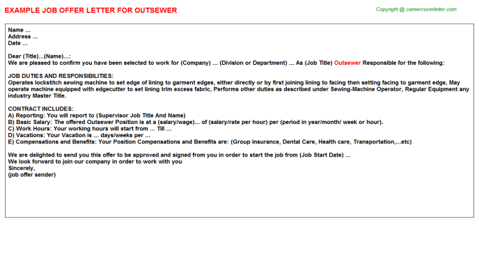 Outsewer Job Offer Letter Template