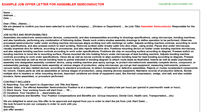 Assembler Semiconductor Offer Letter Template