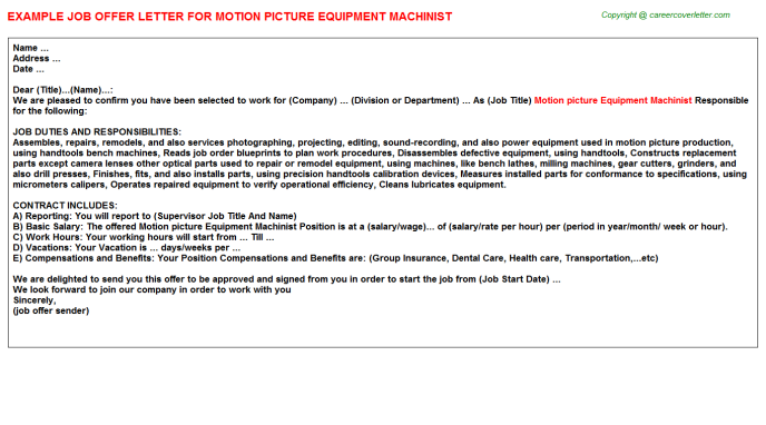 motion picture equipment machinist offer letter template