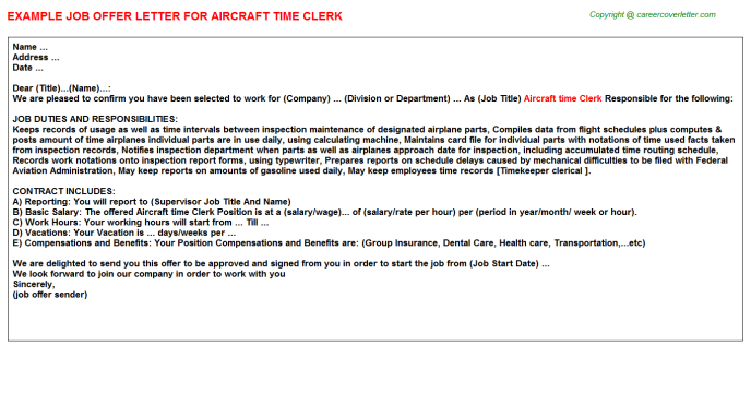 Aircraft time Clerk Offer Letter Template