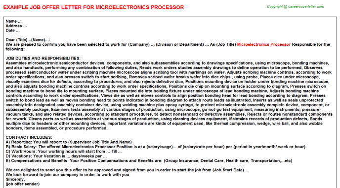Microelectronics Processor Offer Letter Template