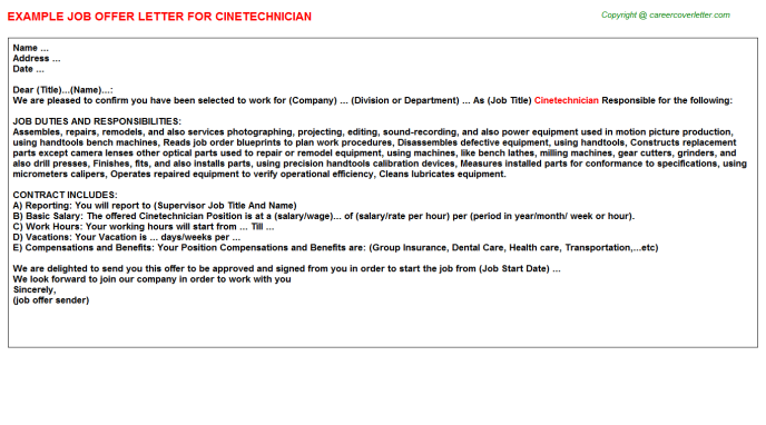 Cinetechnician Offer Letter Template