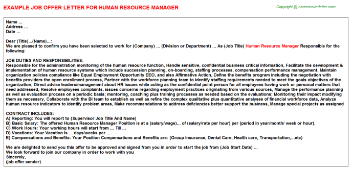 Human Resource Manager Offer Letter Template