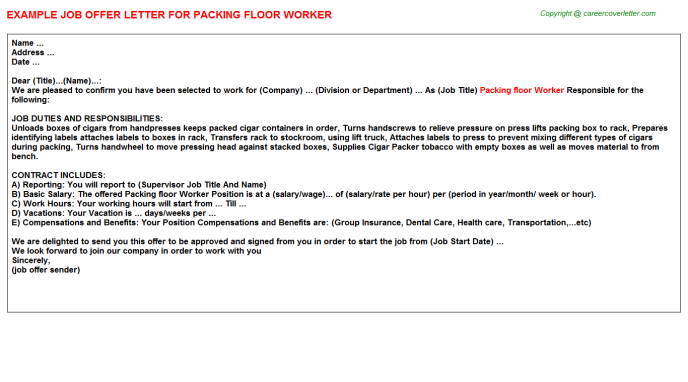 packing floor worker offer letter template