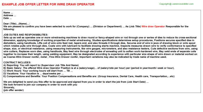 Wire draw Operator Job Offer Letter Template