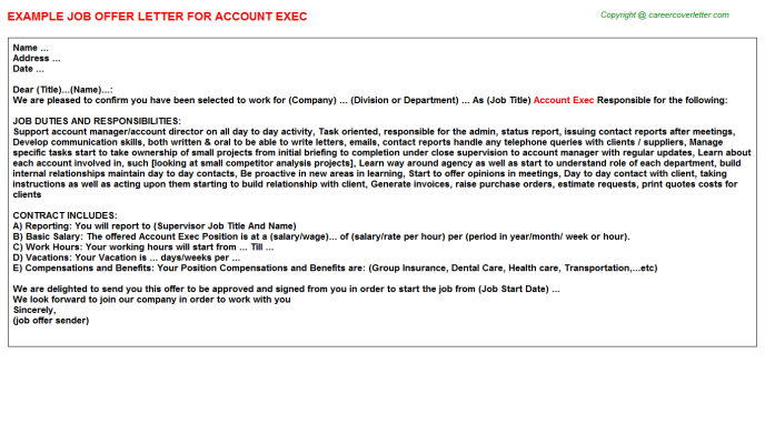 Account Exec Job Offer Letter Template